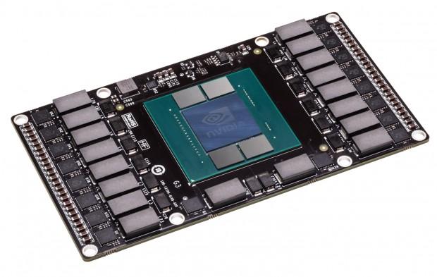 Mockup einer Platine ohne echten Pascal-Chip oder HBM (Bild: Nvidia)