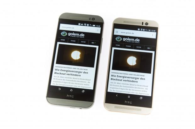 Das neue HTC One (M9) rechts, das HTC One (M8) links - die Ähnlichkeit ist nicht zu leugnen. (Bild: Martin Wolf/Golem.de)