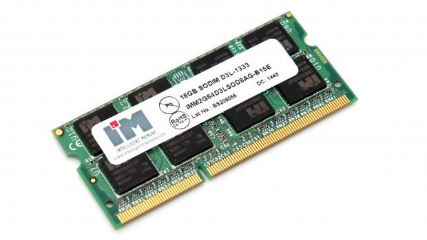 RAM-Modul in SO-DIMM-Bauart mit DDR3L-1333-Geschwindigkeit und 16 GByte (Foto: Till Schönborn/Notebookcheck)
