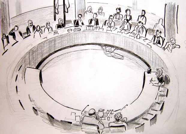Da Fotografieren während der Sitzungen verboten ist, hat der Illustrator Jost Althoff eine Zeugenvernehmung gezeichnet. (Bilder: Jost Althoff/house-of-creatures.de)