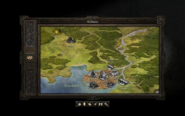Auch die Weltkarte erinnert an Baldur's Gate. (Screenshot: Golem.de)