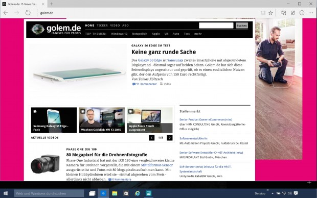 Project Spartan in  Windows 10 Technical Preview 10049 (Screenshot: Golem.de)
