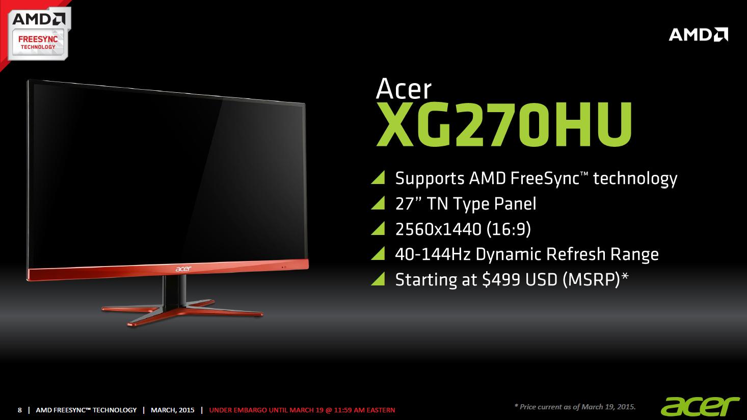 AMD Freesync im Test: Kostenlos im gleichen Takt - Acer XG270HU (Bild: AMD)
