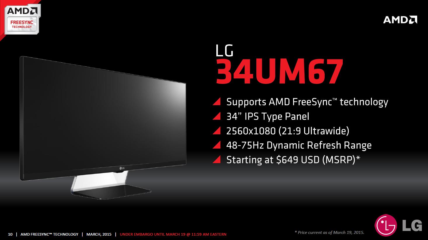 AMD Freesync im Test: Kostenlos im gleichen Takt - LG 34UM67 (Bild: AMD)