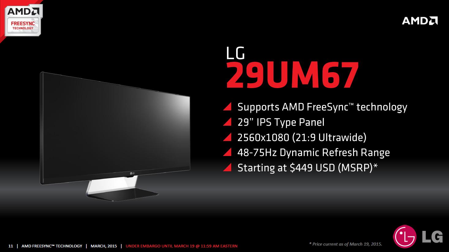 AMD Freesync im Test: Kostenlos im gleichen Takt - LG 29UM67 (Bild: AMD)
