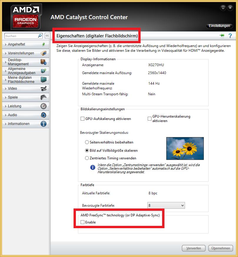 AMD Freesync im Test: Kostenlos im gleichen Takt - Freesync wird im CCC aktiviert. (Screenshot: Golem.de)