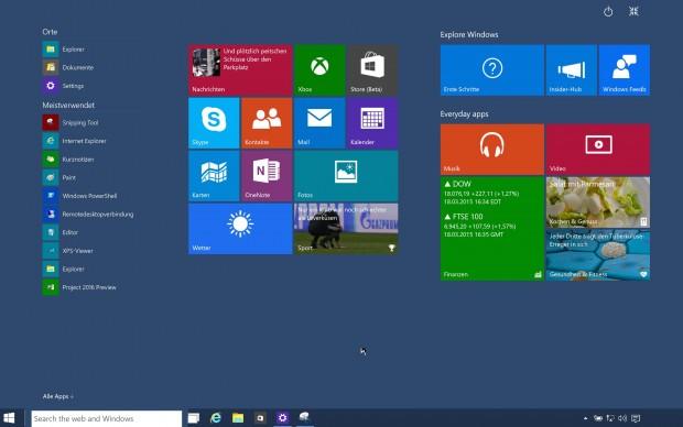 Startmenü von Windows 10 Build 9926  (Bild: Golem.de)