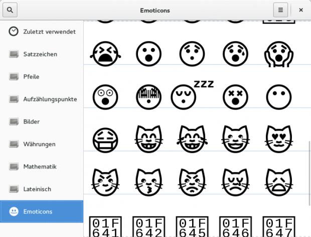 Gnome-Characters bietet eine einfache Unicode-Tabelle,... (Screenshot: Sebastian Grüner/Golem.de)