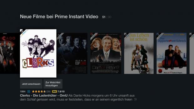 Filmübersicht in der Unterrubrik Prime Video (Screenshot: Golem.de)
