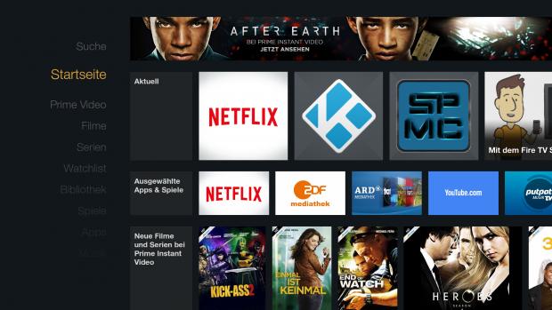 Fire TV Stick - Startbildschirm mit Kodi- und SPMC-Icon im Aktuell-Bereich (Screenshot: Golem.de)