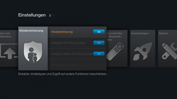 Kindersicherungseinstellungen des Fire TV Stick (Screenshot: Golem.de)