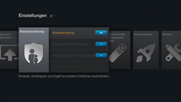 Kindersicherungseinstellungen des Fire TV Stick (Screenshot: Golem.de)