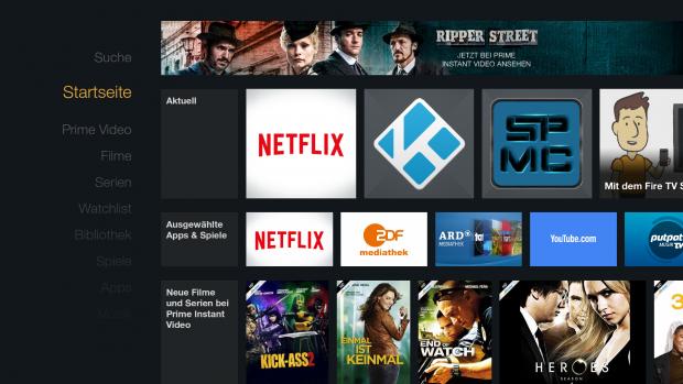 Fire TV Stick - Startbildschirm mit wechselnden Film- und Serientipps im oberen Bereich (Screenshot: Golem.de)