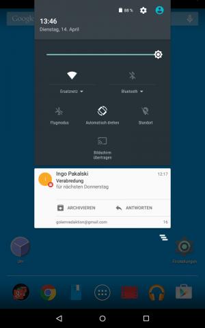 Android 5.1 mit Schnelleinstellungs- und Benachrichtigungsbereich (Screenshot: Golem.de)
