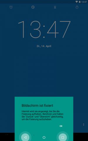 Android 5.1 - Uhr-App ist angeheftet (Screenshot: Golem.de)