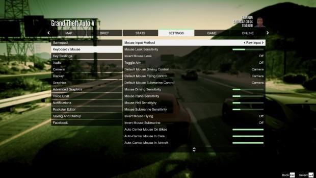 Optionsmenü Eingabegeräte von GTA 5 am PC (Bild: Rockstar Games)