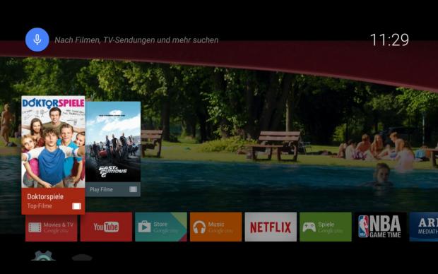 Der Hauptbildschirm von Android TV (Screenshot: Golem.de)