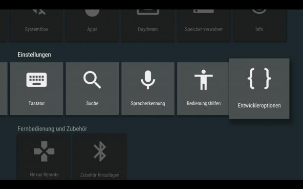 Der Nexus Player mit geöffnetem Einstellungsmenü (Screenshot: Golem.de)