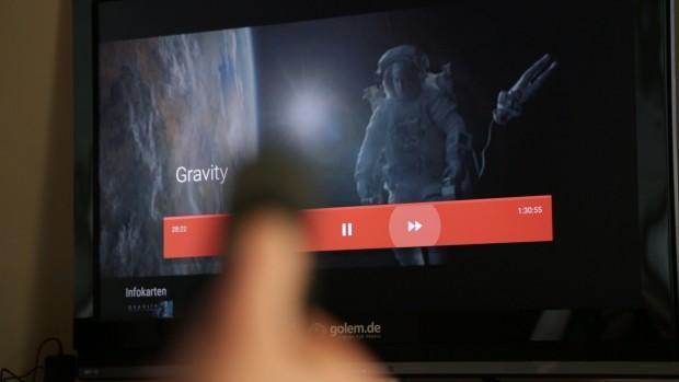 Der Nutzer kann auf dem Nexus Player meist nur über ein Bildschirmmenü spulen. (Bild: Martin Wolf/Golem.de)