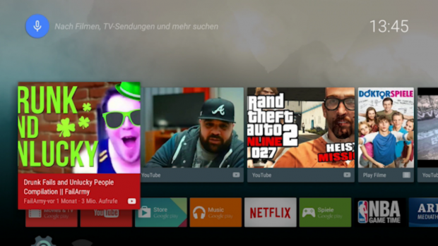 Der Empfehlungsbereich von Android TV ist keine Hilfe. (Screenshot: Golem.de)
