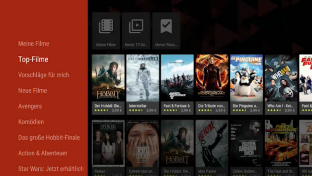 Googles Play-Movies-App auf dem Nexus Player (Screenshot: Golem.de)