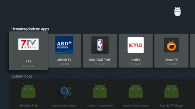 Das App-Menü in den Einstellungen von Android TV (Screenshot: Golem.de)