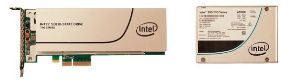 Intel SSD 750 als PCIe-Karte und 2,5-Zoll-Modell (Bild: Intel)