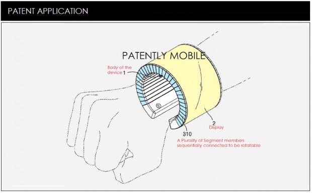 So stellt sich Samsung ein Armband mit flexiblem Display vor. (Bild: Patentlymobile.com)