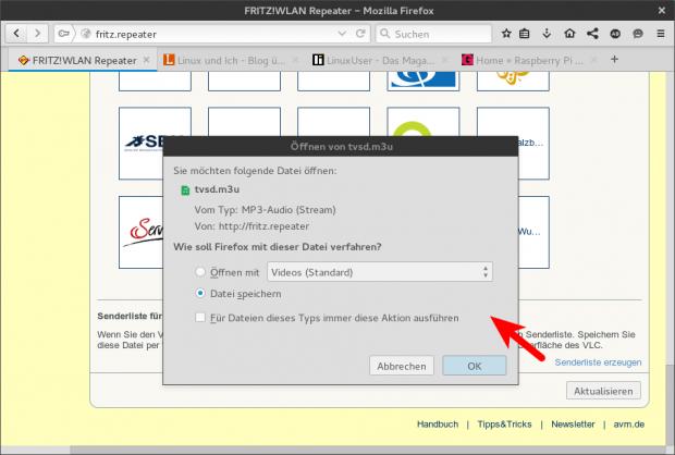 Aus der Weboberfläche des Fritz-WLAN-Repeater DVB-C kann die Senderliste als M3U-Playlist heruntergeladen werden.