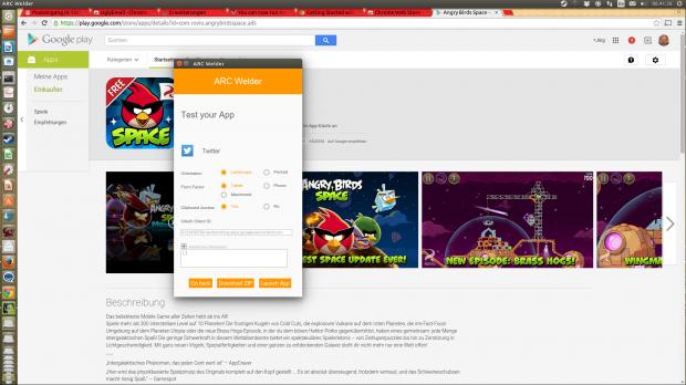 Mit ARC Welder lassen sich Android-Apps in Googles Browser Chrome unter Windows, Mac OS X und Linux starten. (Screenshots: Golem.de)