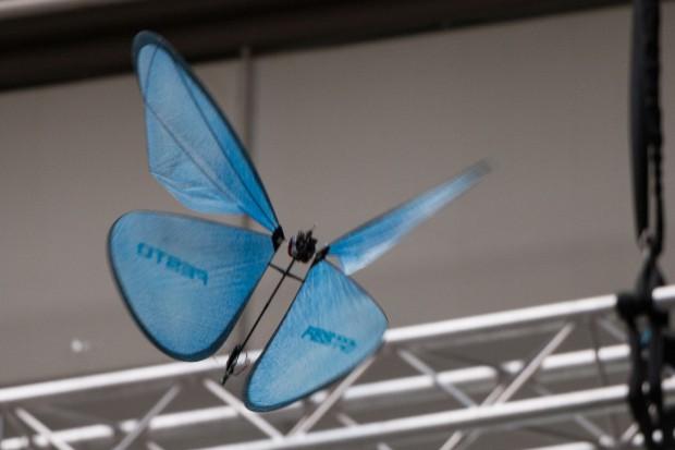Blaue Schmetterlinge lässt Festo auf der Hannover Messe 2015 fliegen, die Emotion Butterflies. (Foto: Werner Pluta/Golem.de)