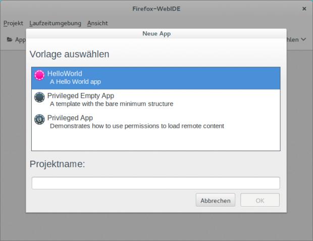 Der Firefox-Browser enthält von Haus aus die für die Entwicklung von Firefox-OS-Apps benötigte WebIDE mitsamt Demo-Projekten. (Fotos: Linux User)