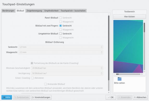 Hinzugekommen sind die Touchpad-Konfiguration, ... (Bild: Screenshot Golem.de)