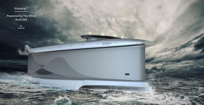 Vindskip ist ein modernes Segelschiff, das vom Wind angetrieben wird, obwohl es kein Segel hat. (Bild: Lade AS)