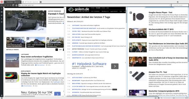 Tabgruppen lassen sich vertikal, ... (Screenshot Golem.de)