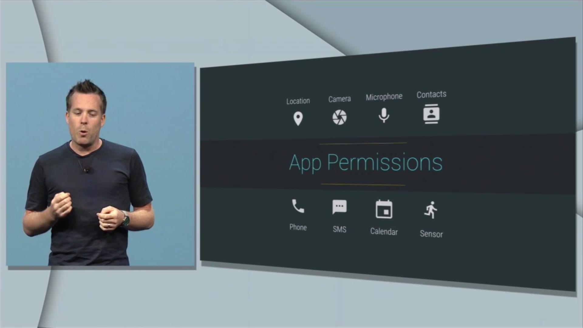 Android M: Google zeigt neues System für App-Berechtigungen - Die App-Berechtigungen hat Google in Android M vereinfacht. (Bild: Google/Screenshot: Golem.de)
