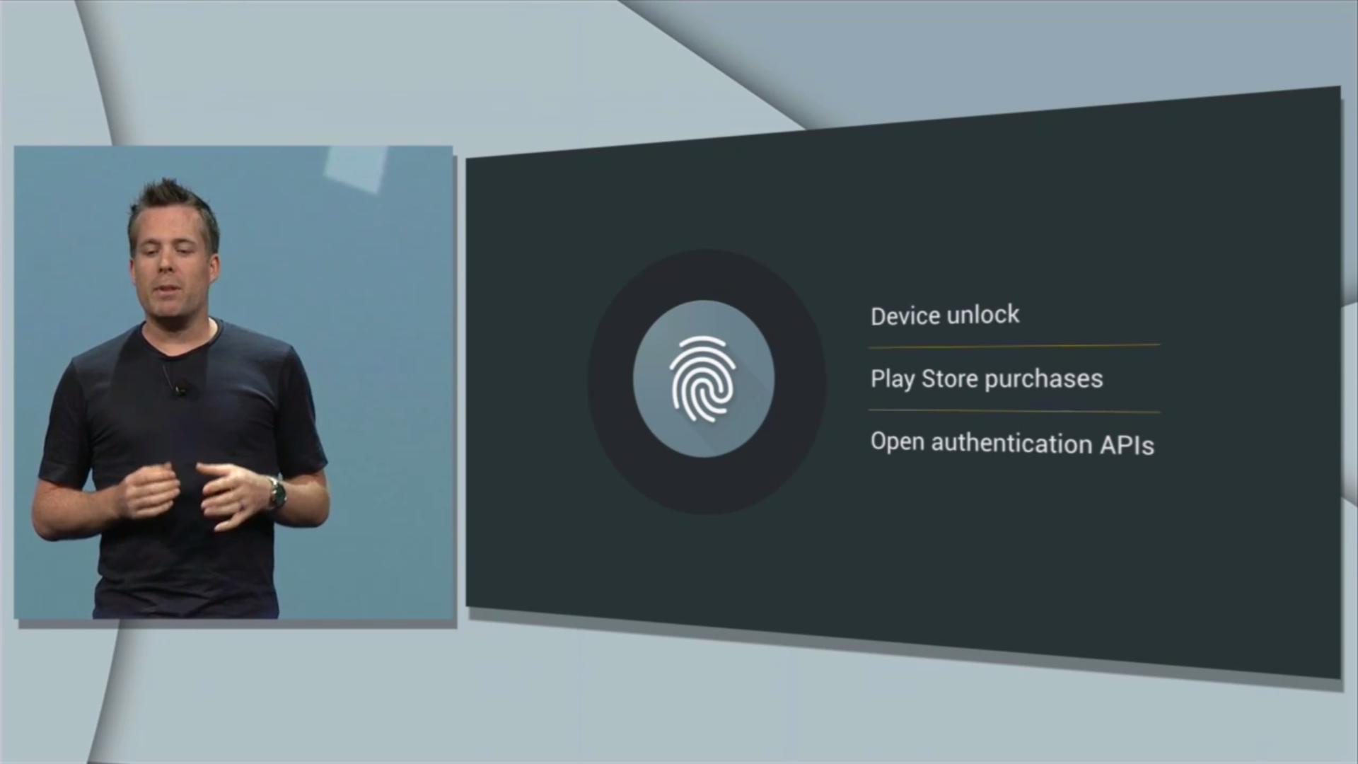 Android M: Google zeigt neues System für App-Berechtigungen - In das Betriebssystem ist jetzt eine Fingerabdruck-API integriert. (Bild: Google/Screenshot: Golem.de)