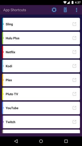 App Shortcuts for Fire TV auf einem Android-Smartphone  - Übersicht der installierten Fire-TV-Apps (Bild: Quiver Apps)