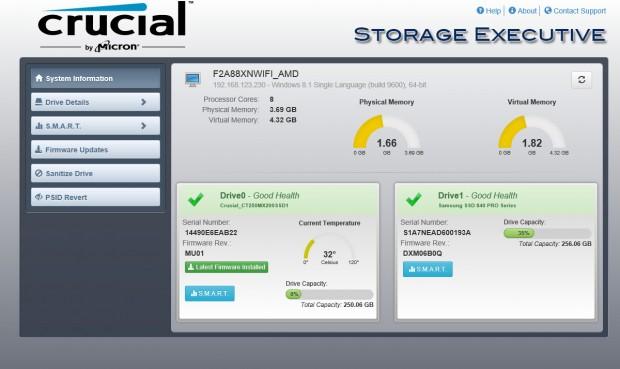 Crucial Storage Executive (Screenshot: Golem.de)