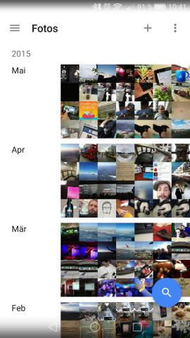 Google hat eine neue, überarbeitete Fotos-App vorgestellt. Die Fotosammlung kann jetzt übersichtlicher dargestellt werden. (Screenshot: Golem.de)