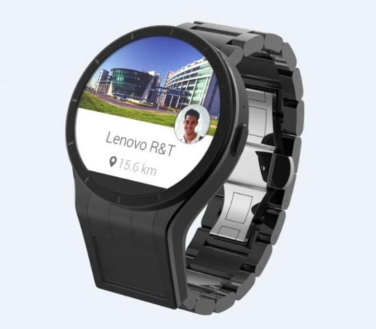 Lenovos Magic-View-Konzept einer Smartwatch mit zusätzlichem Display. Dieses wird projiziert, die dafür benötigte Technik sitzt unterhalb des eigentlichen Bildschirms. (Bild: Lenovo)