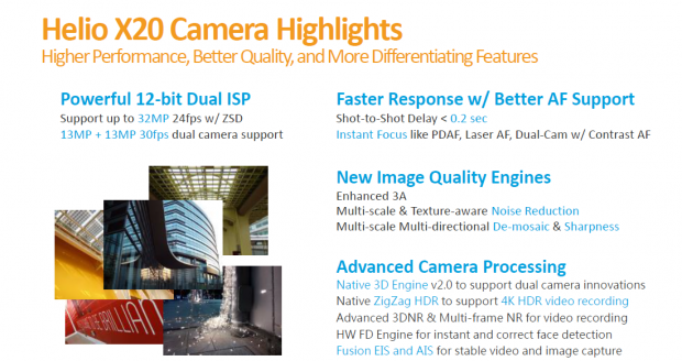 Die Kamera-Eigentschaften des Helio X20 (Bild: Mediatek)