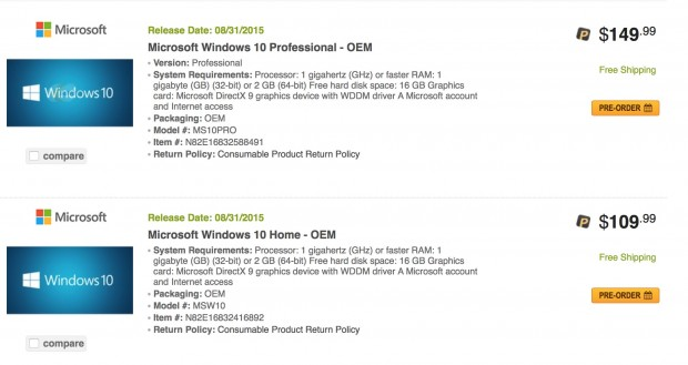 Windows 10 OEM auf Newegg.com (Screenshot: Golem.de am 31. Mai, 10:45 Uhr MESZ)
