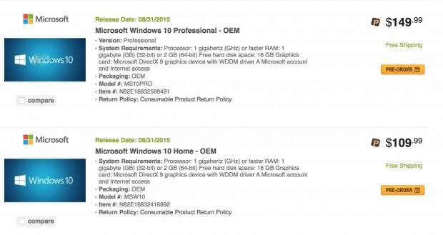 Windows 10 OEM auf Newegg.com (Screenshot: Golem.de am 31. Mai, 10:45 Uhr MESZ)