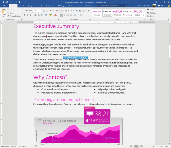Word - Office 2016 Preview (Bild: Microsoft)