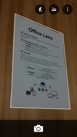 Ein schräg fotografiertes Blatt Papier ist für Office Lens kein Problem. (Bild: Microsoft)
