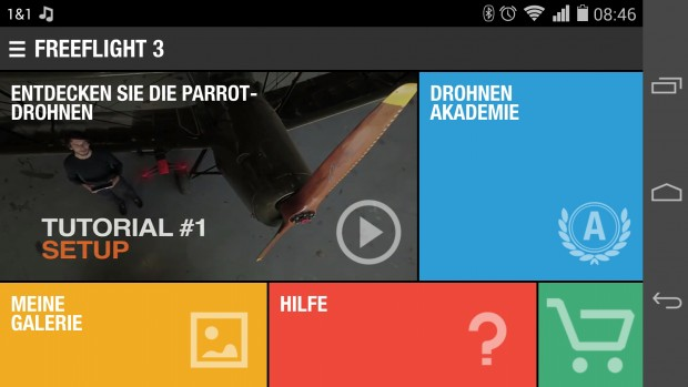 Startbildschirm von Freeflight 3 (Screenshot: Golem.de)