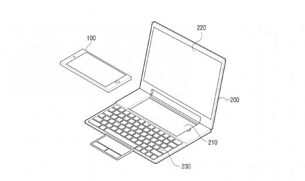 Das Laptop-Dock aus Samsungs Patent (Bild: USPTO/Samsung)