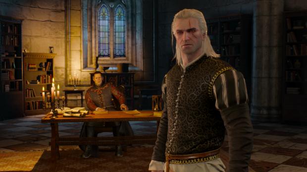 Ab und zu darf Geralt von Riva in schicker Kleidung seinen gesellschaftlichen Pflichten nachgehen. (Screenshot: Golem.de)