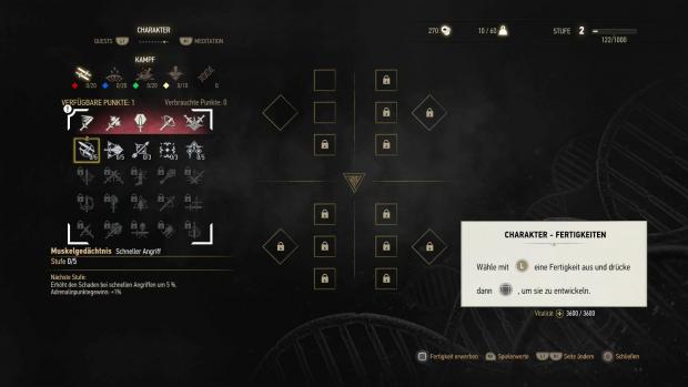 Im Talentbaum kann der Spieler unter anderem die Kampffertigkeiten verbessern. (Screenshot: Golem.de)